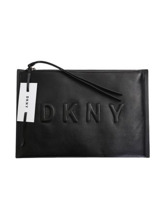 Black Leather Embossed Clutch