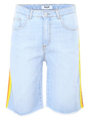Bermuda Denim Shorts With Tricolor Band