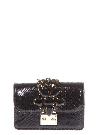 Gedebe Cliky Embellished Black Python Clutch