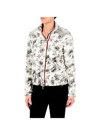White Flower Print Gobi Jacket