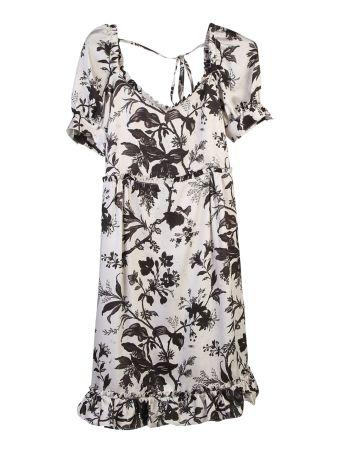 Floral Printed Satin Short Dress