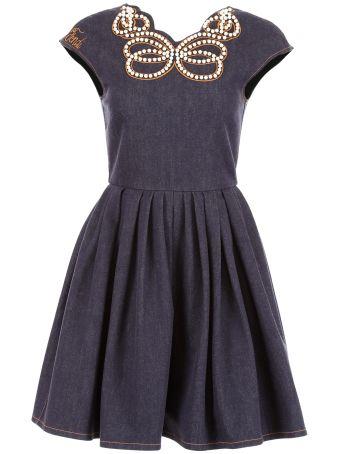 Denim Dress With Pearls