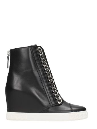 Casadei Black Calf Leather Sneakers