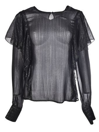 Black Coral Asia See-Through Ruffled Top