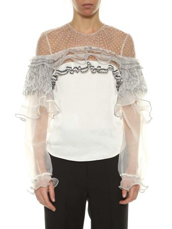 Self-portrait Blouse With Frills And Lace
