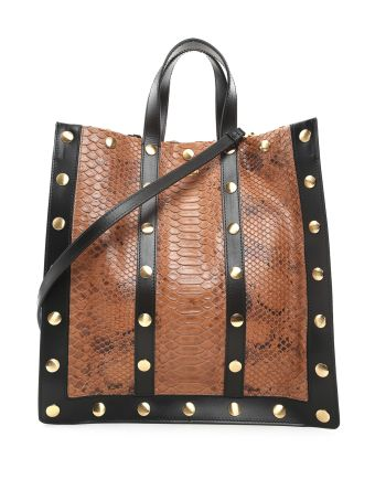 Moschino Studded Leather And Python Shopping Bag