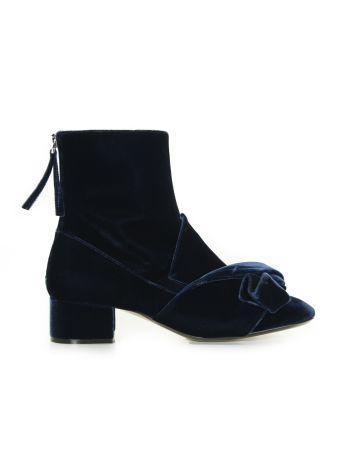 N° 21 Velvet Master Navy Blue Ankle Boots