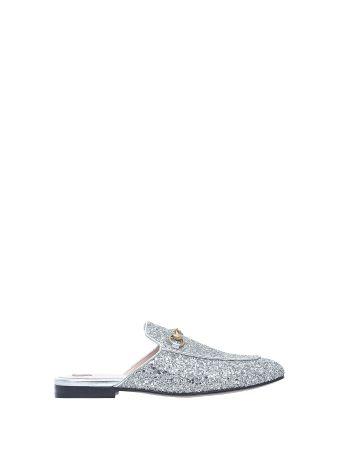 Gucci Princetown Silver Glitter Slipper
