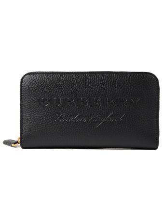 Burberry Embossed Logo Zip Around Wallet
