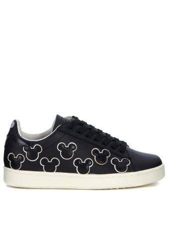 Moa Mickey Mouse Black Leather Sneaker