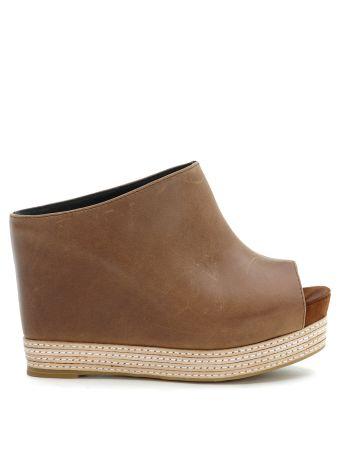 Jc Virgo Sabot Sandals In Brown Leather
