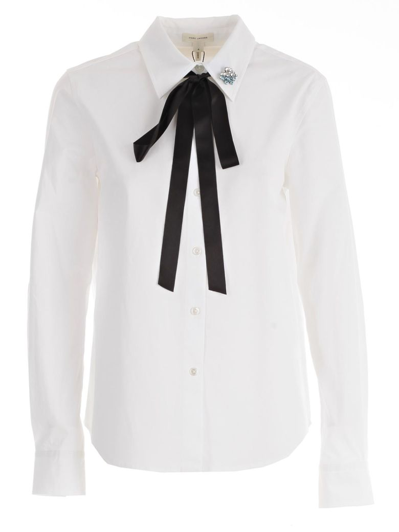 MARC JACOBS Cotton Shirt With Bow And Collar Detail in White