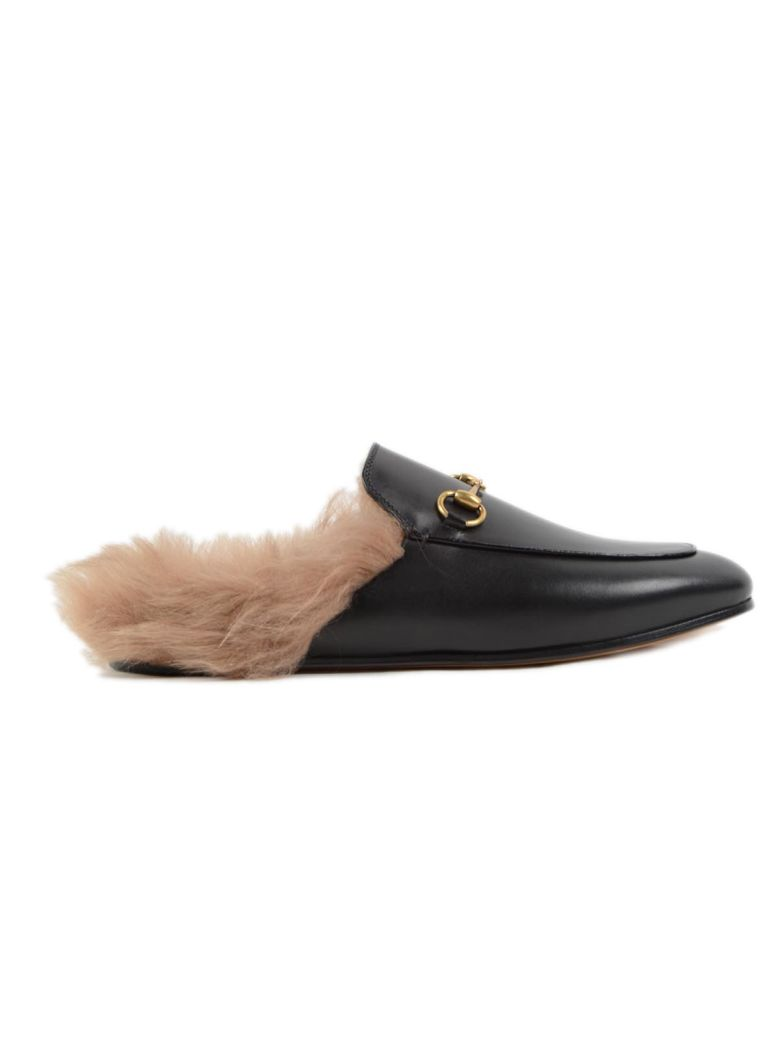 Gucci Princetown Horsebit-Detailed Shearling-Lined Leather Slippers In Black