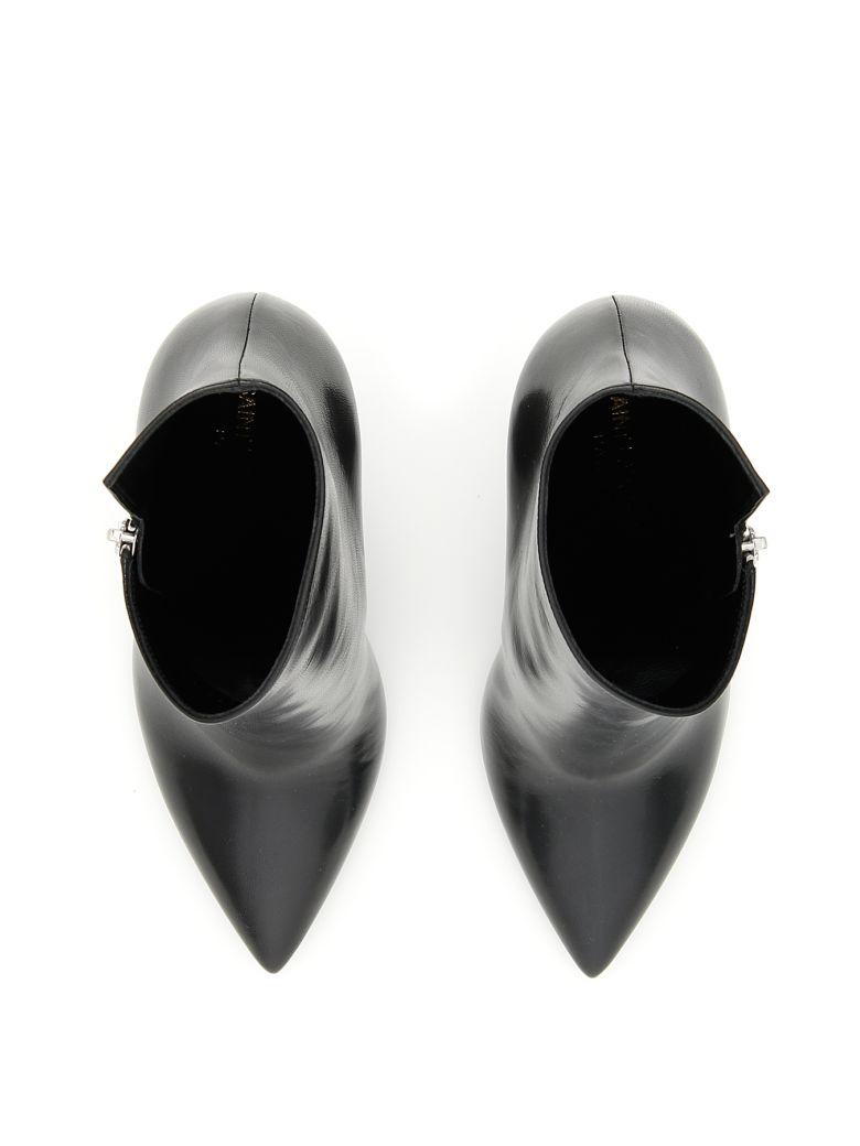 Saint Laurent Niki 105 Asymmetric Boots In Nero Nero