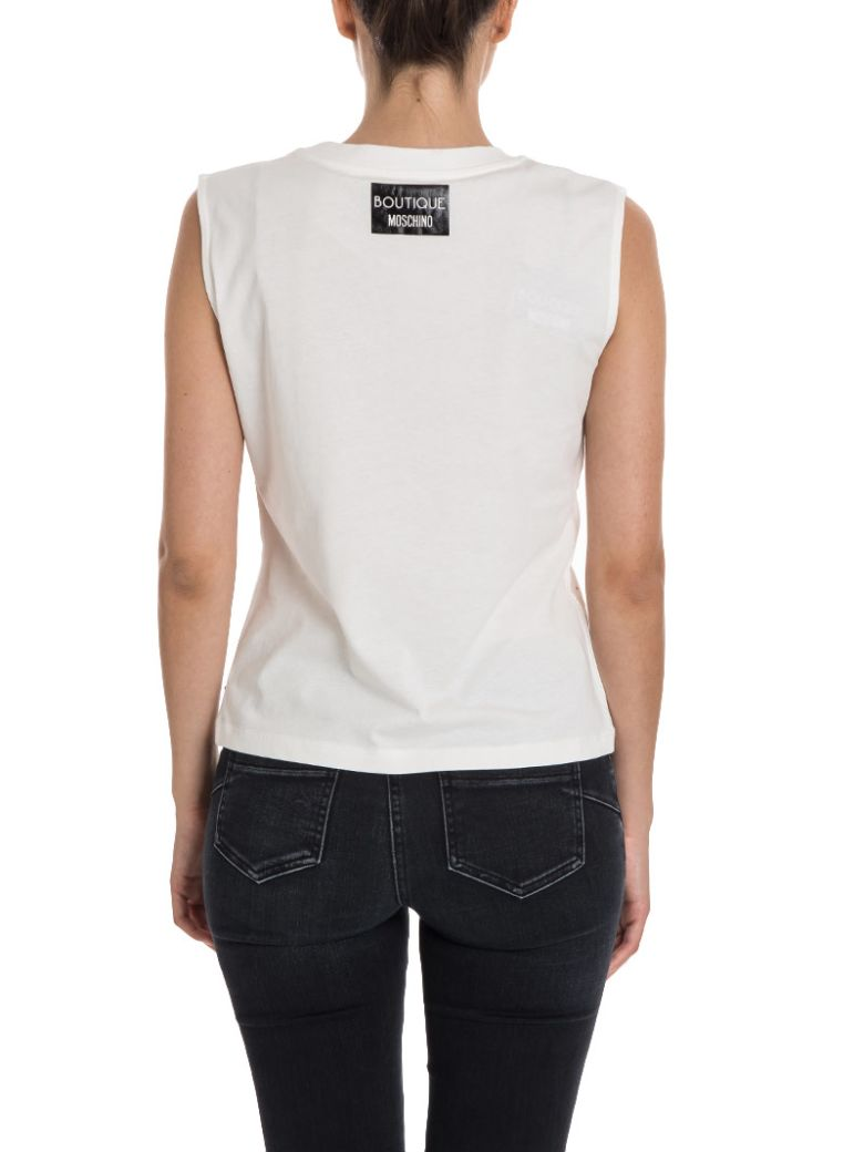 BOUTIQUE MOSCHINO T-Shirt Sleeveless Shirt With Multi Rhinestones And Boutique C'Est Chic Writing in White