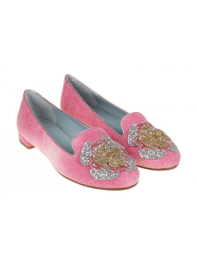 CHIARA FERRAGNI Women'S  Pink Leather Flats'