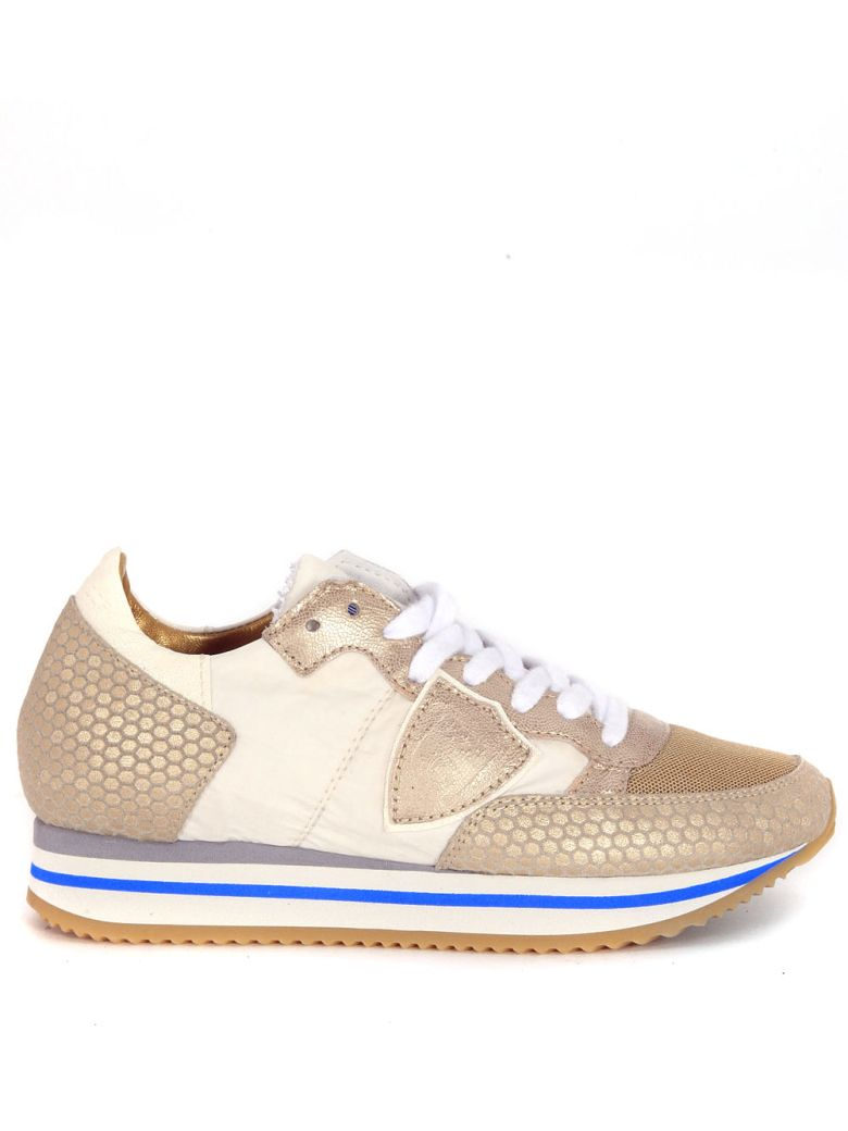 Philippe Model  SNEAKER PHILIPPE MODEL TROPEZ HIGHER IN GOLDEN LEATHER AND BEIGE FABRIC