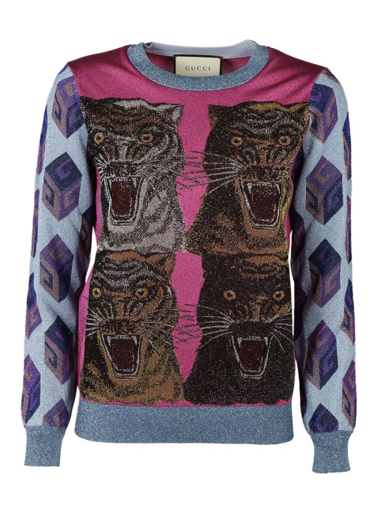 Tiger intarsia viscose lurex sweater