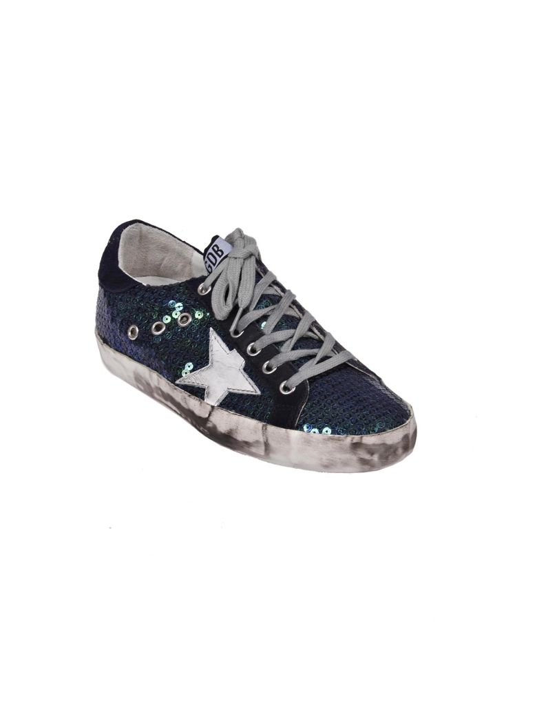 GOLDEN GOOSE Leather Sneakers Blue in Blue Pailettes