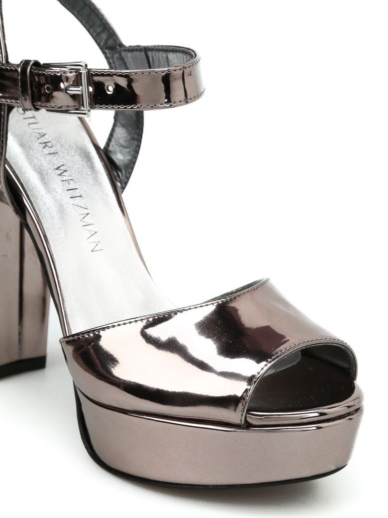 STUART WEITZMAN Sashay Mirrored Leather Sandals