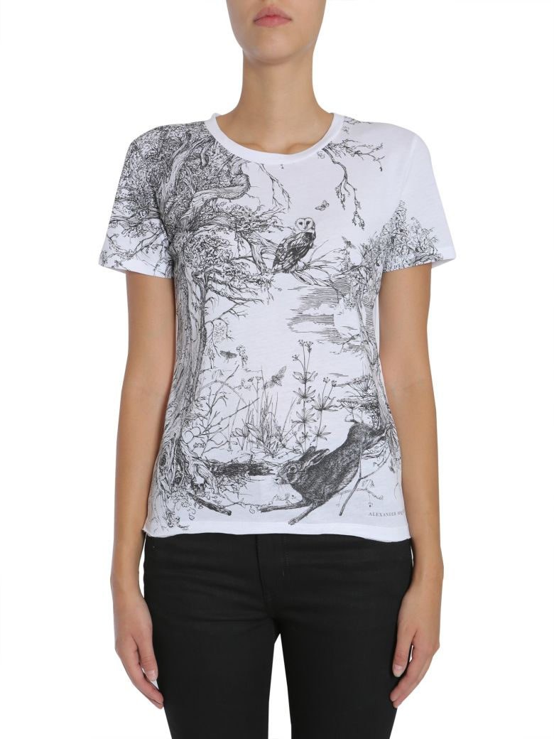 ALEXANDER MCQUEEN Printed Cotton T-Shirt in Bianco