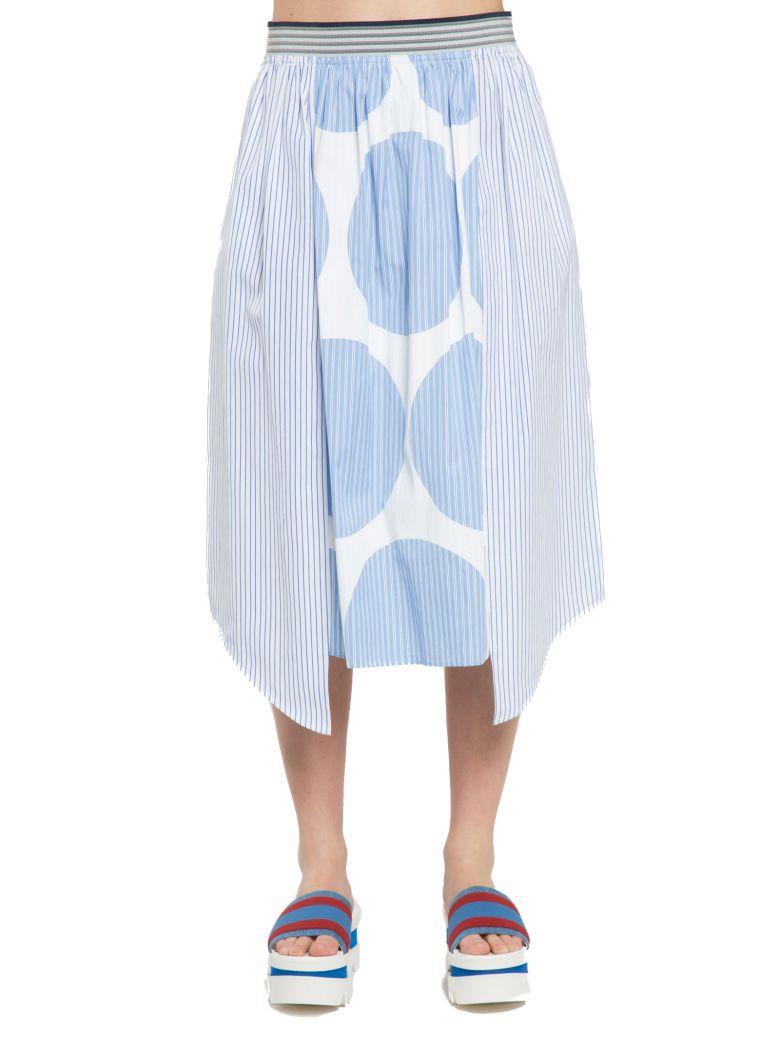 STELLA MCCARTNEY 'Marianna' Contrast Polka Dot Stripe Skirt in Sky Llue