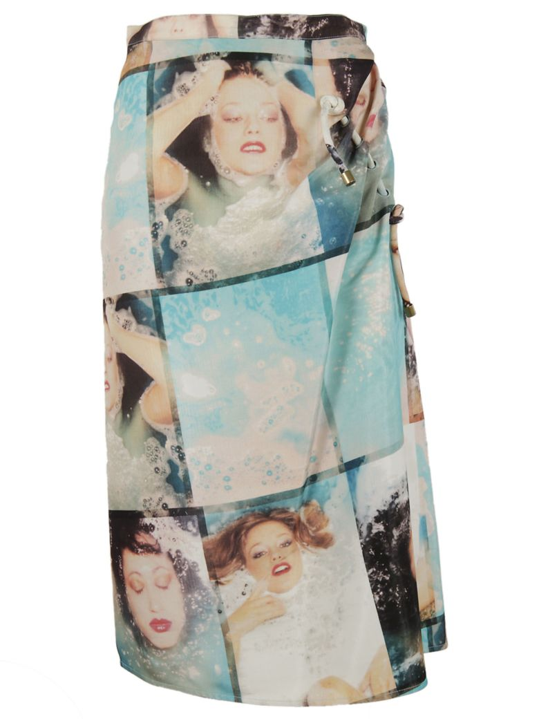 KENZO - Photograph Printed Pencil Skirt in Green