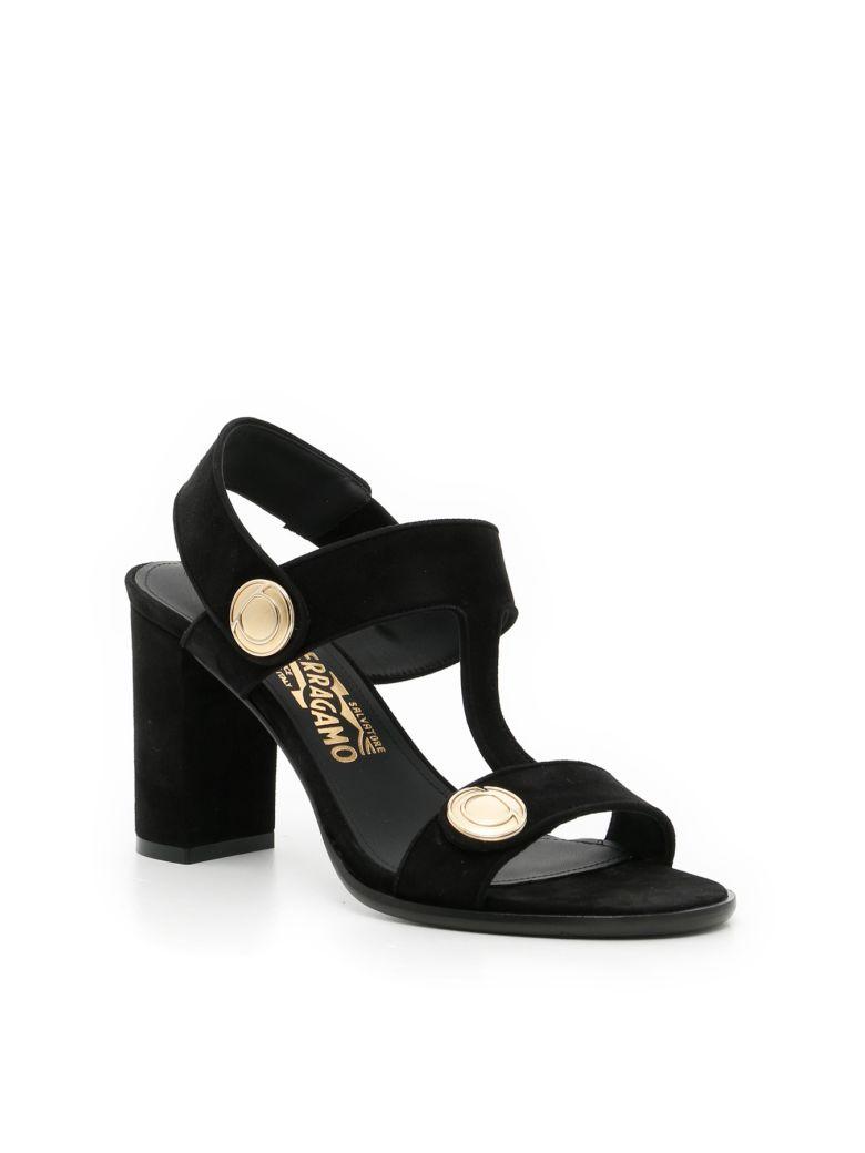 SALVATORE FERRAGAMO Suede Edict Sandals in Nero|Nero