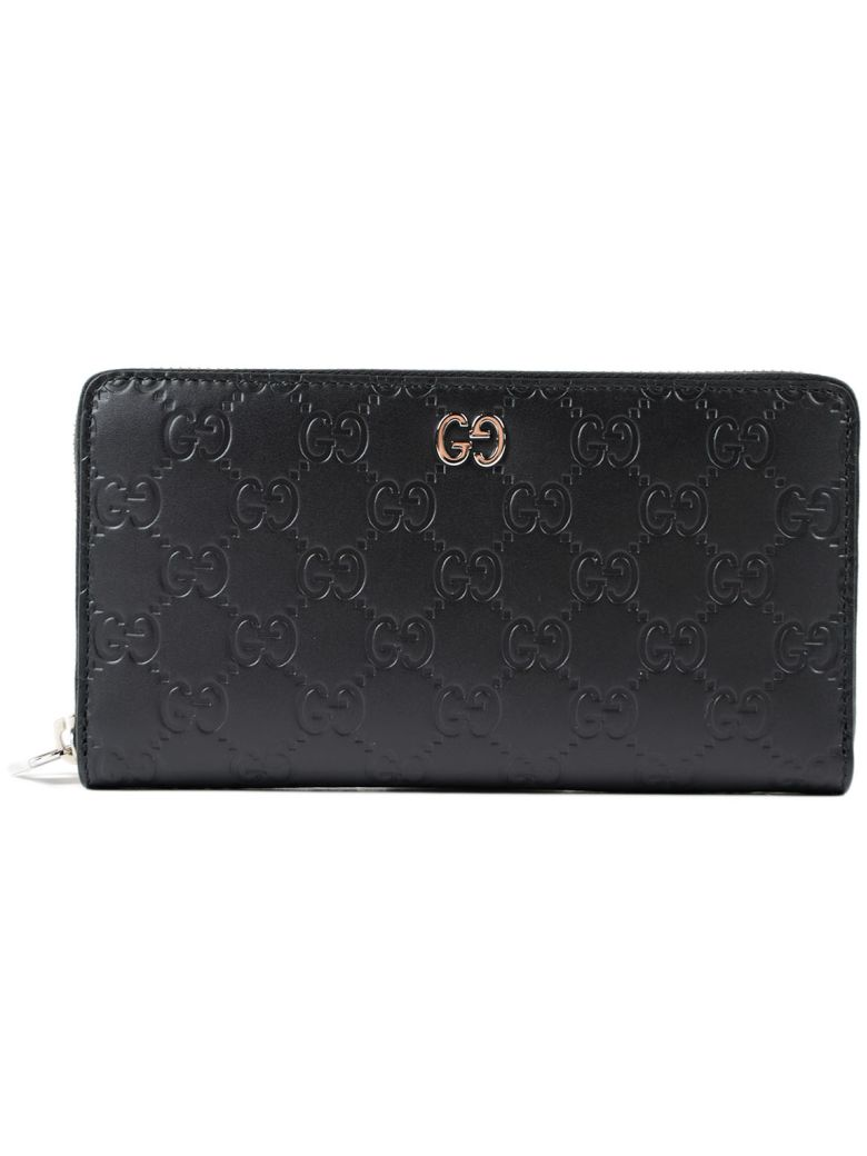 Signature Zip Around Wallet in Black