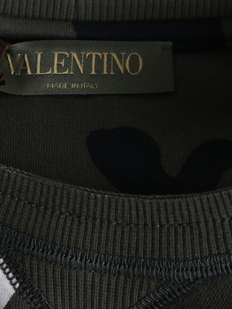 VALENTINO Studded Camouflage Cotton Sweater in Multi