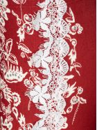 Black Coral Lace Detail Printed Leggings