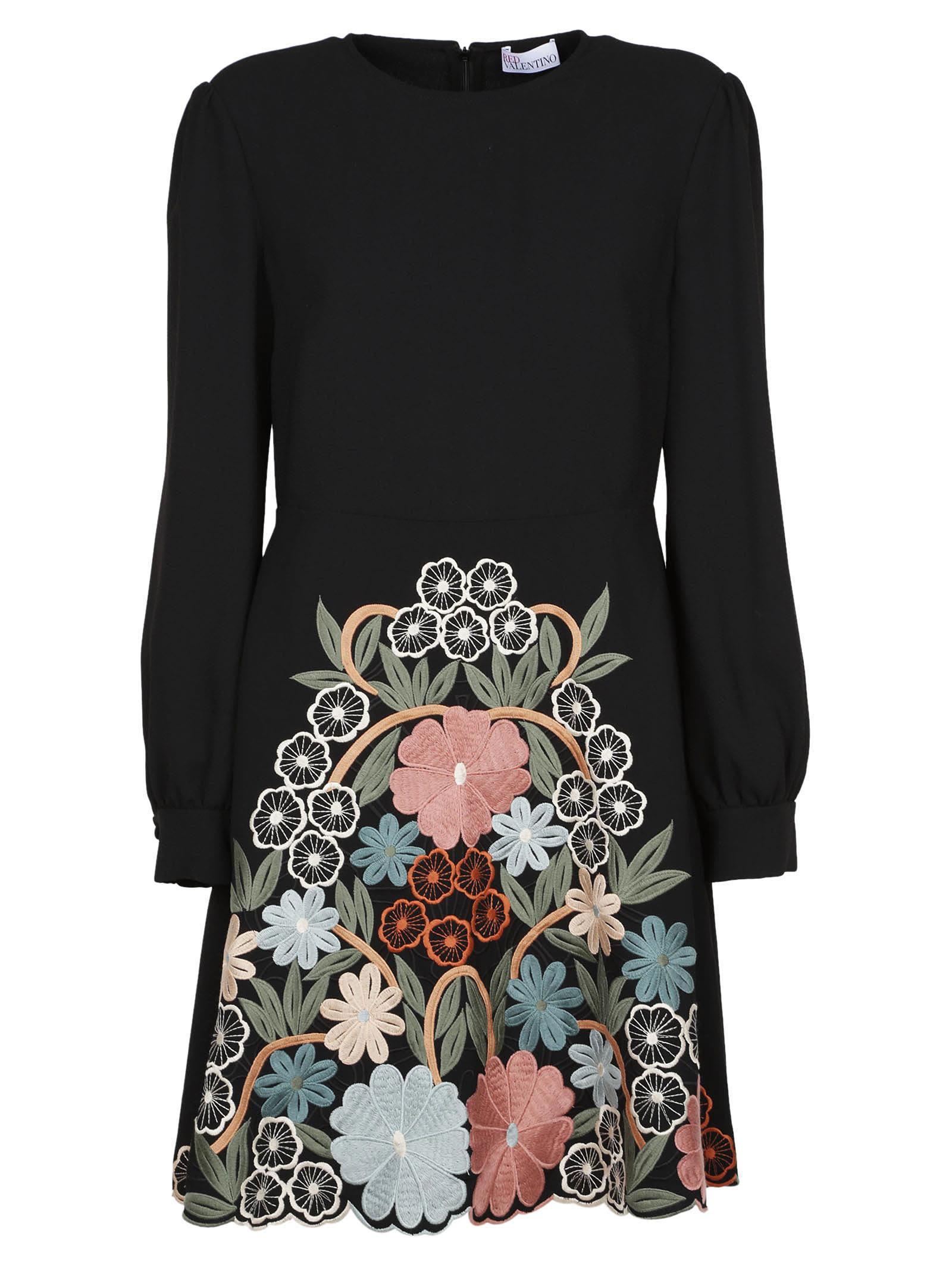 Red Valentino Floral Embroidery Dress