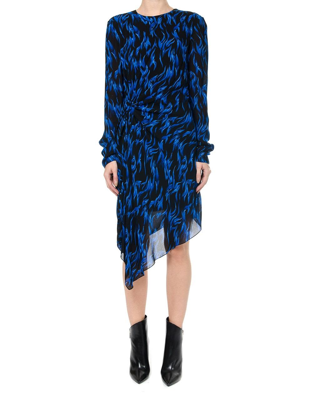 Saint Laurent Asymmetrical Dress In Flame Print With Draped Side