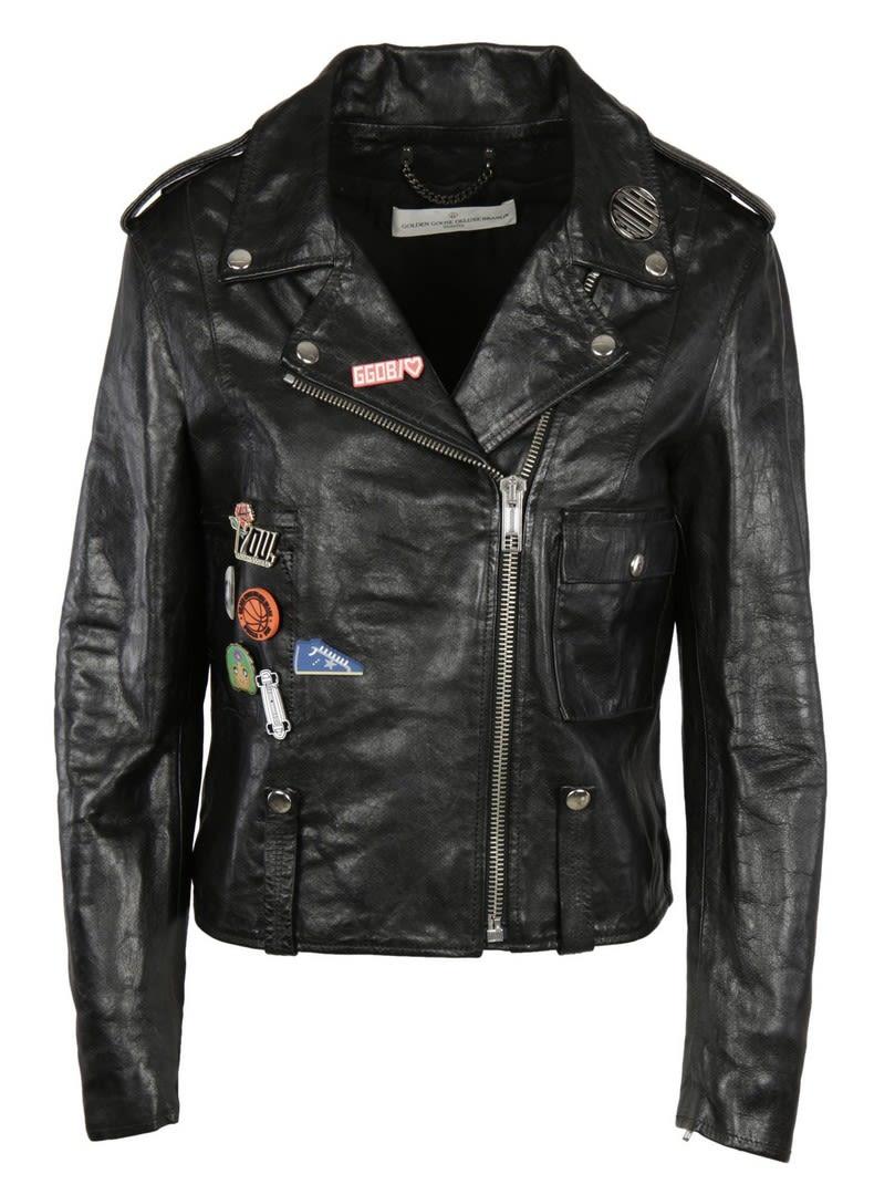 golden goose golden goose badge emblazoned biker jacket black women 39 s coats jackets italist. Black Bedroom Furniture Sets. Home Design Ideas