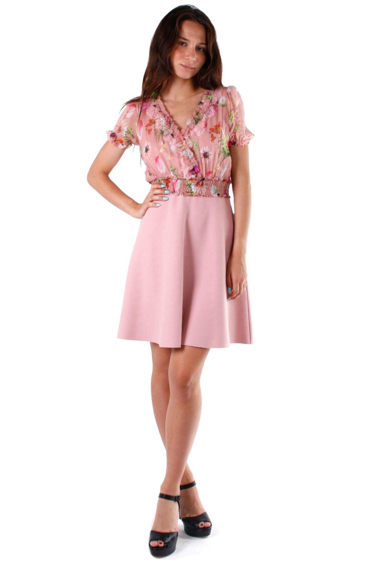 Blumarine Old Rose Floral Dress