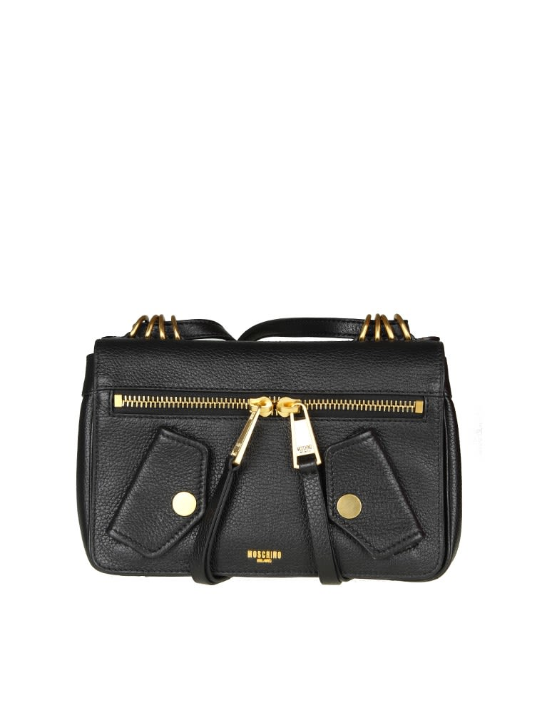 Moschino Bag In Black Leather With Pockets