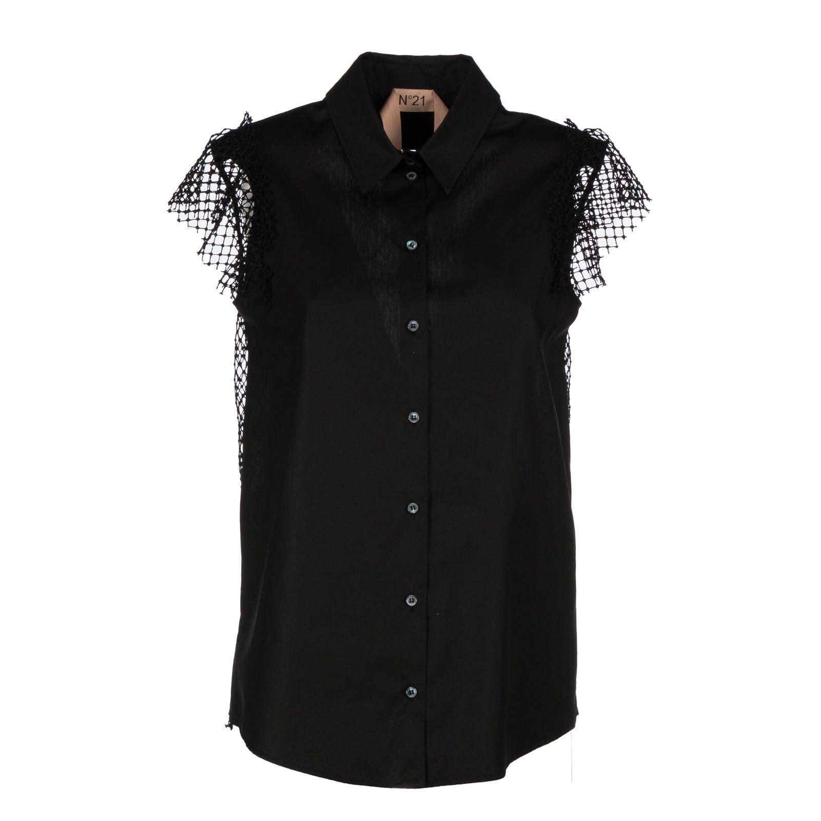 No21 Grid Lace Panel Shirt