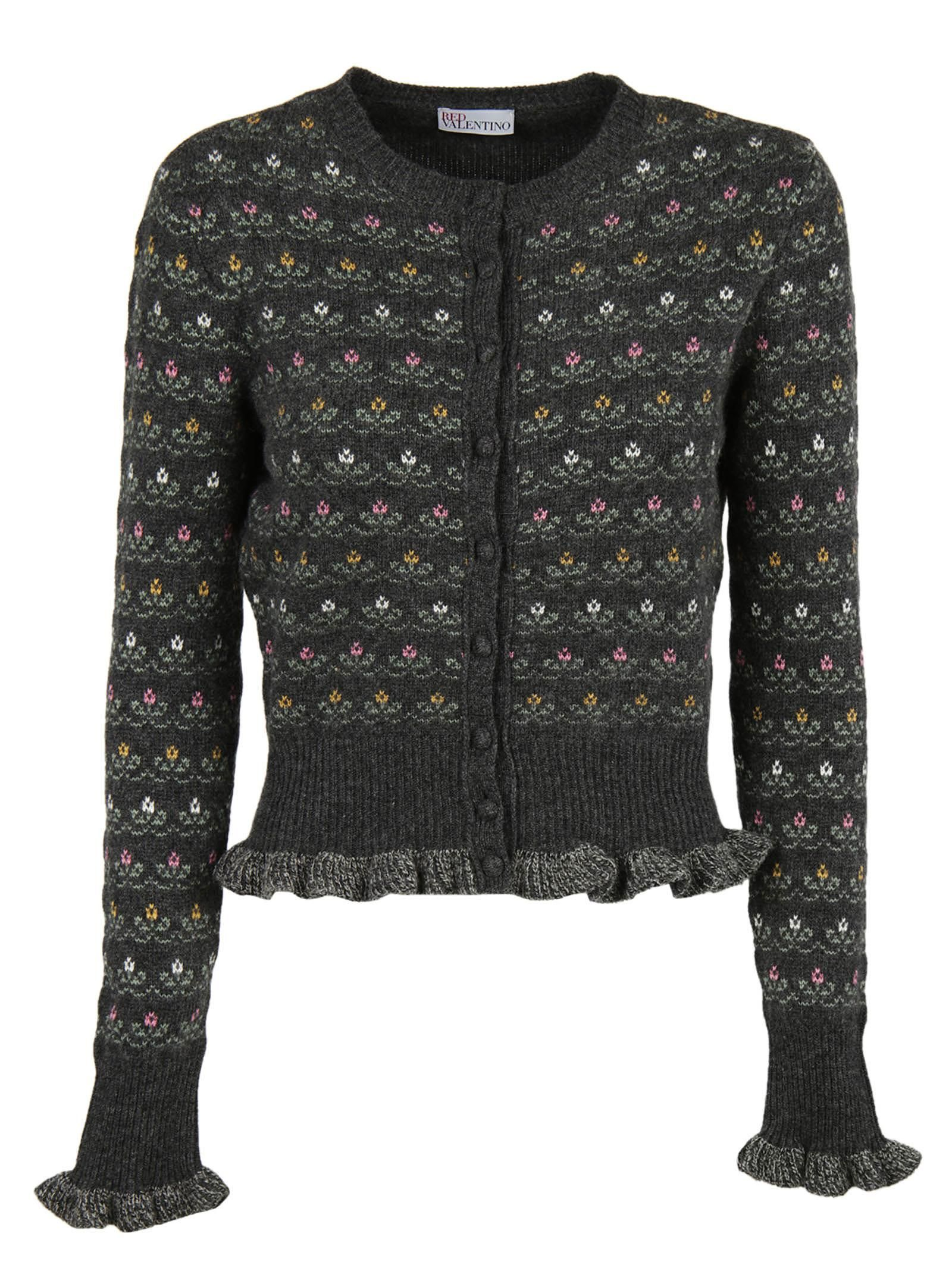 Red Valentino Flower Embroidered Cardigan