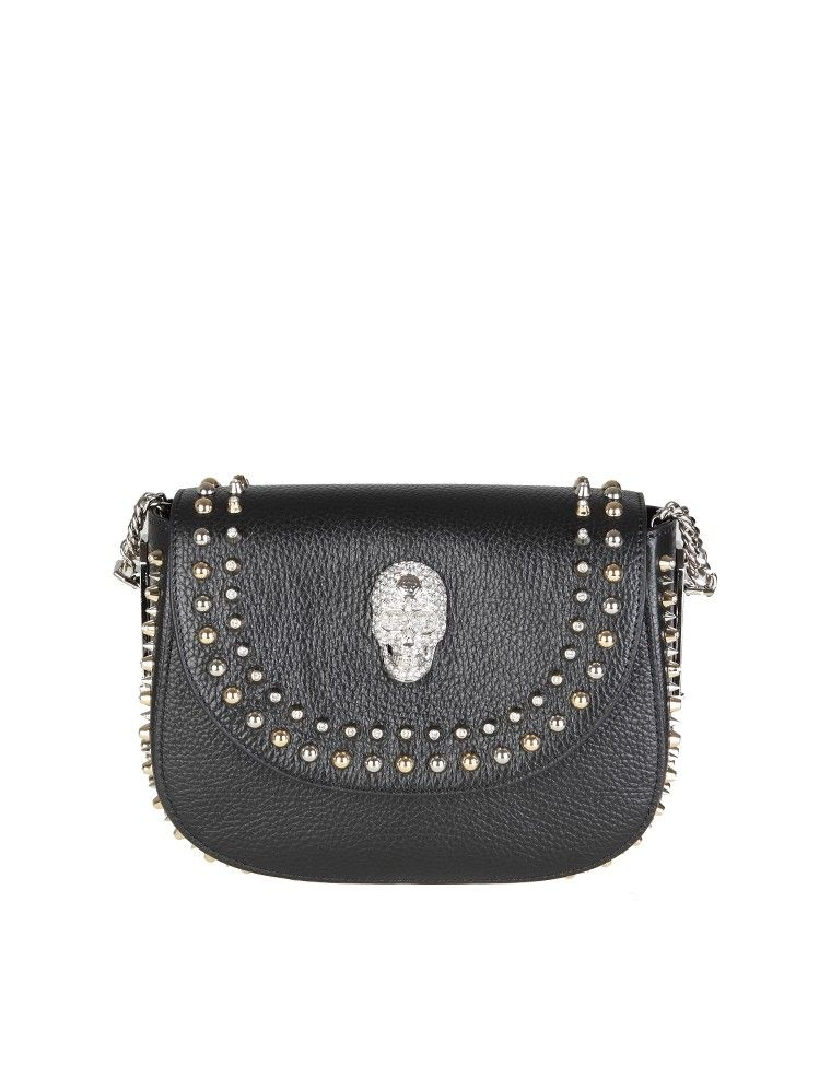 Philipp Plein Mini Shoulder Micky In Black Leather With Studs