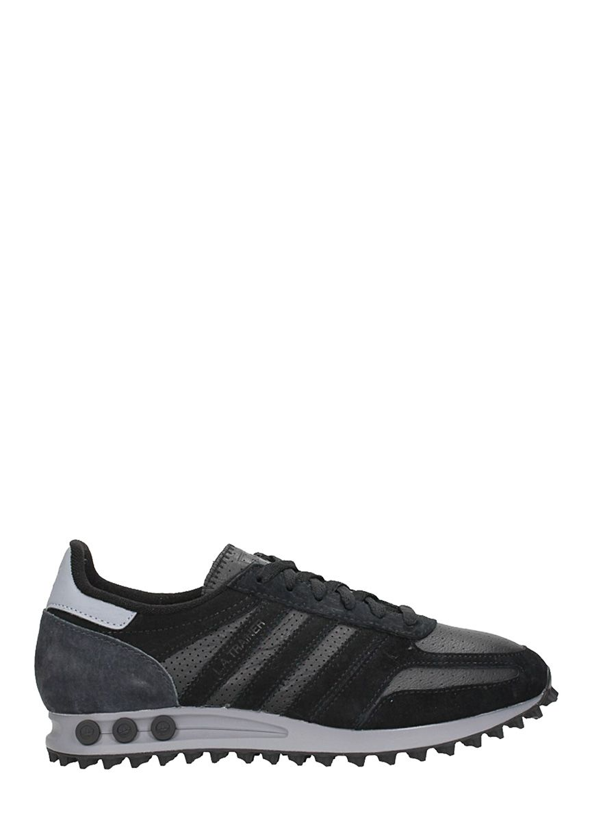 Adidas Trainer Leather And Suede Black Sneakers