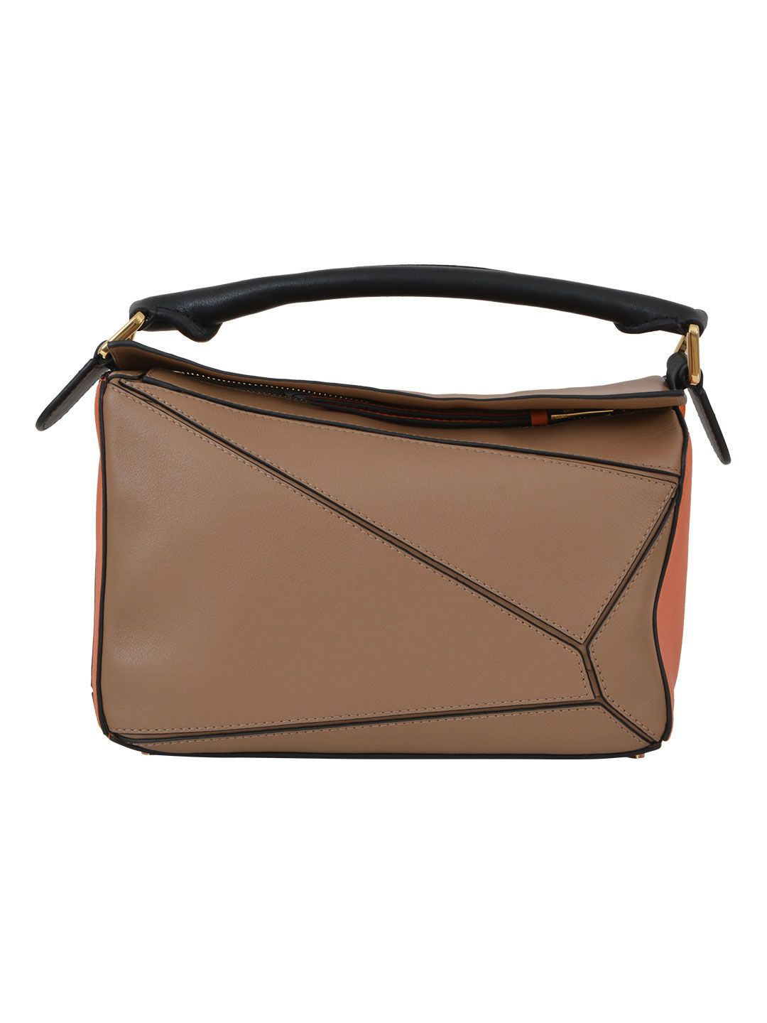 Puzzle Small Leather And Suede Shoulder Bag, Beige-Arancio