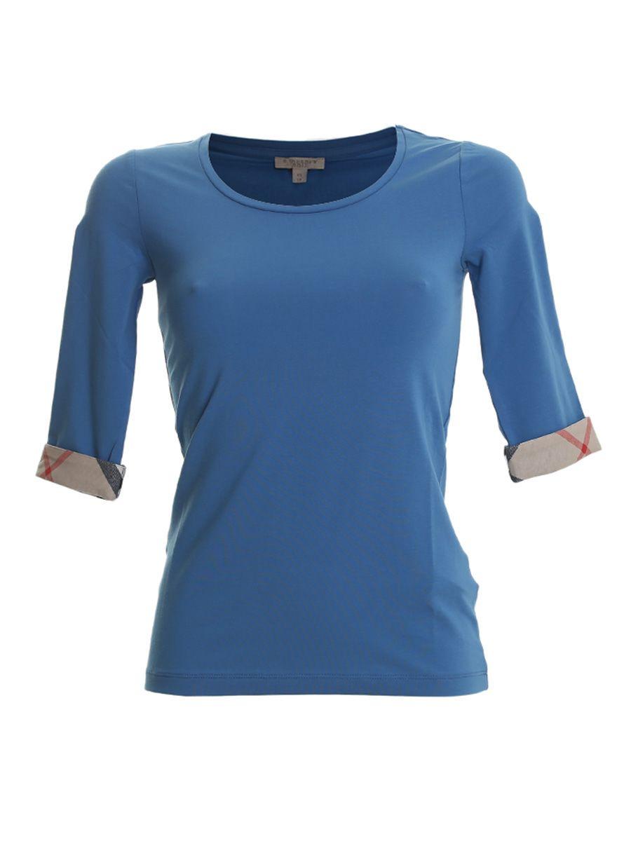 Blue Cotton 3/4 Sleeves T-shirt