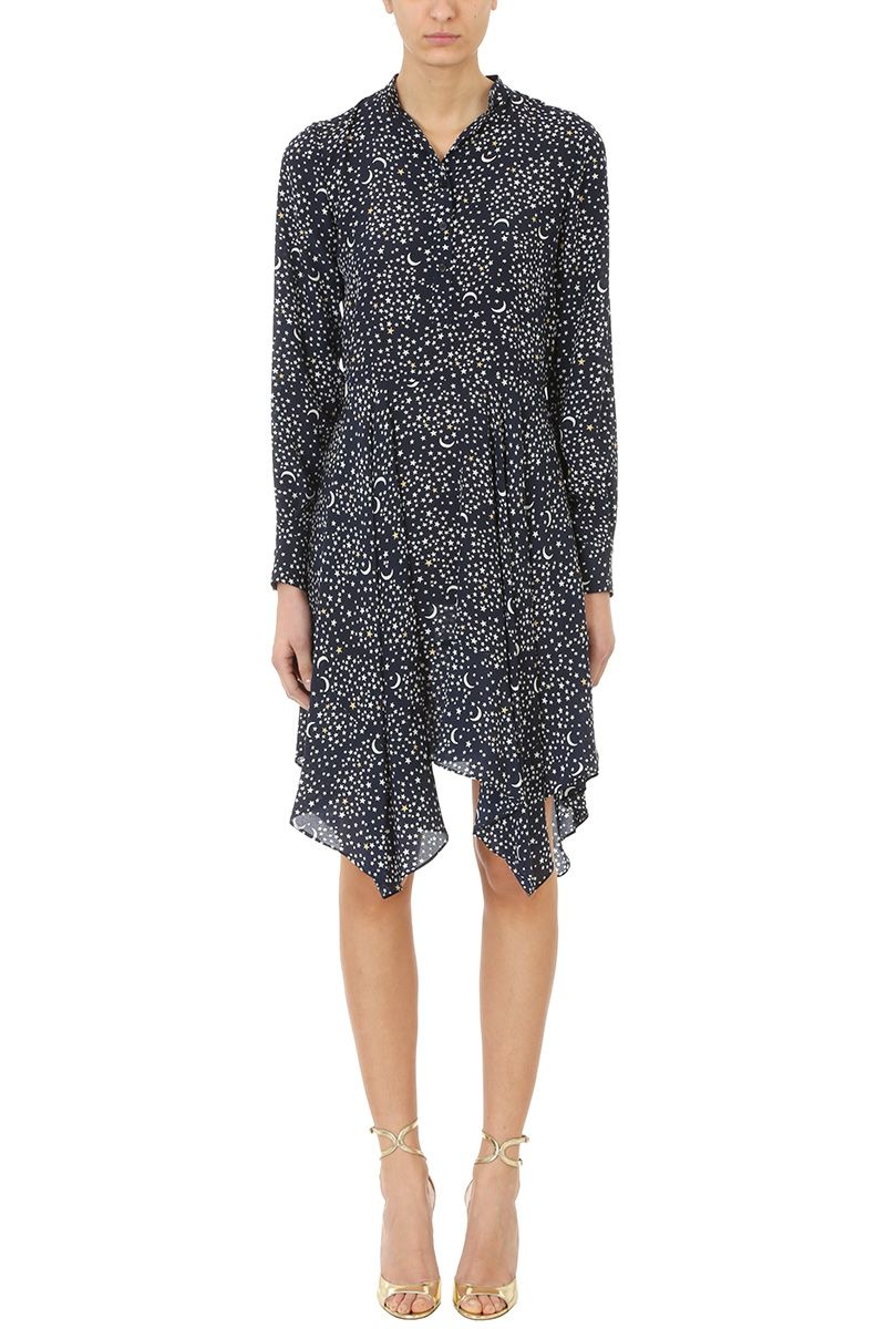 Stella McCartney Star Print Draped Silk Dress
