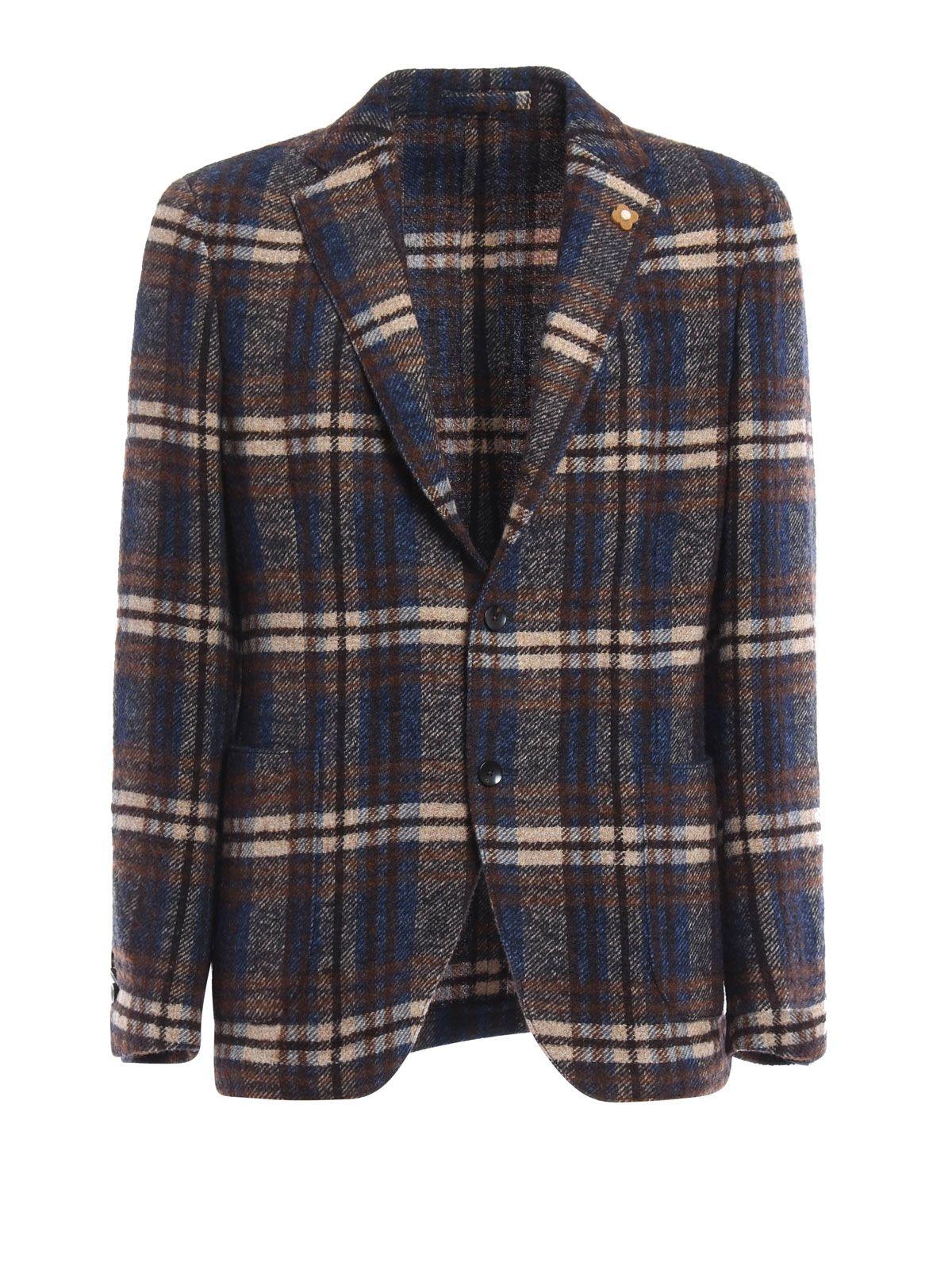 Lardini Tartan Wool Blend Blazer