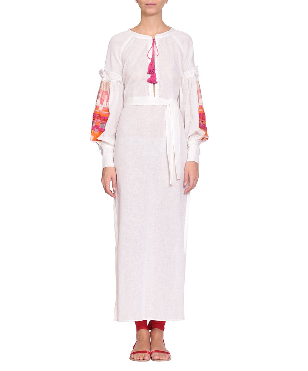 WANDERING Cotton Linen Embroidered Dress