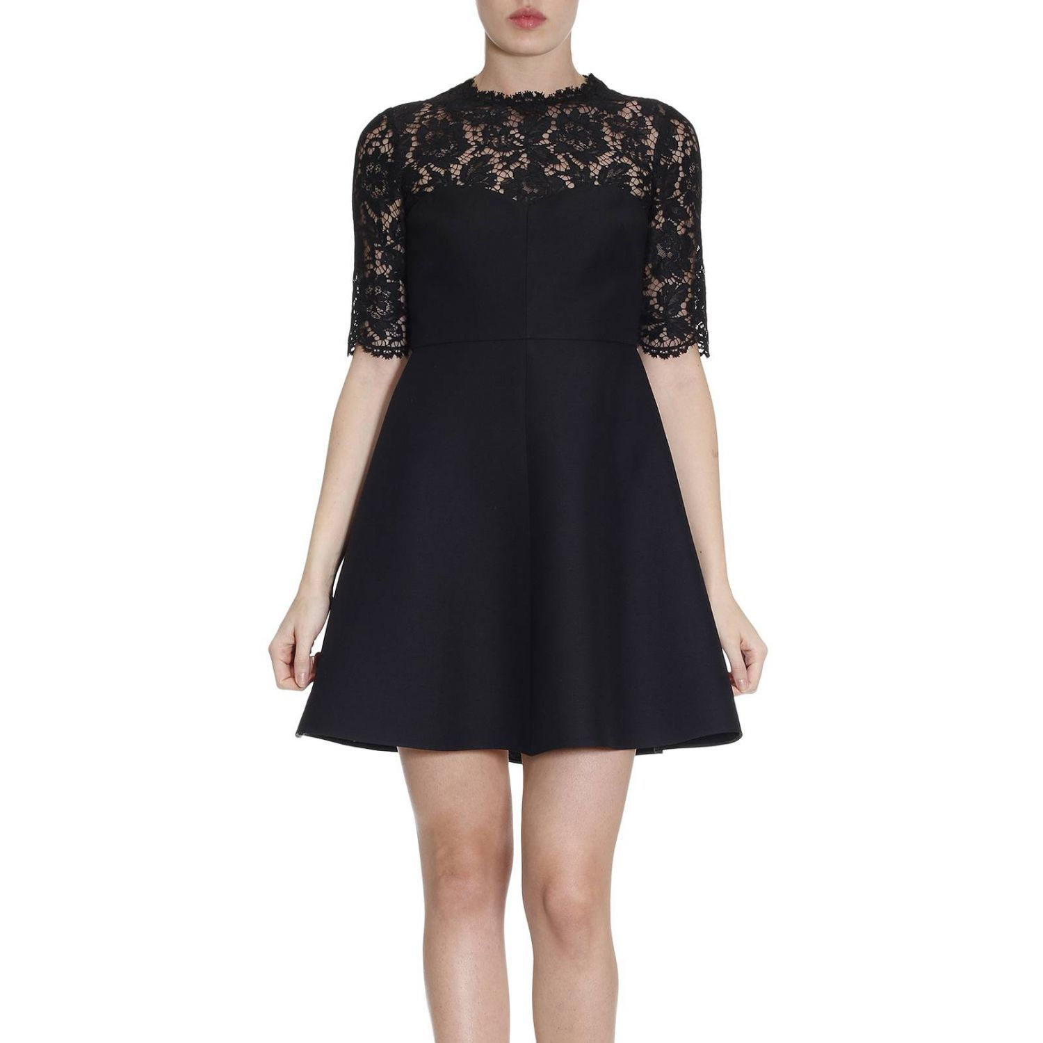 Dress Flared Dress With Floral Lace And 3/4 Sleeves