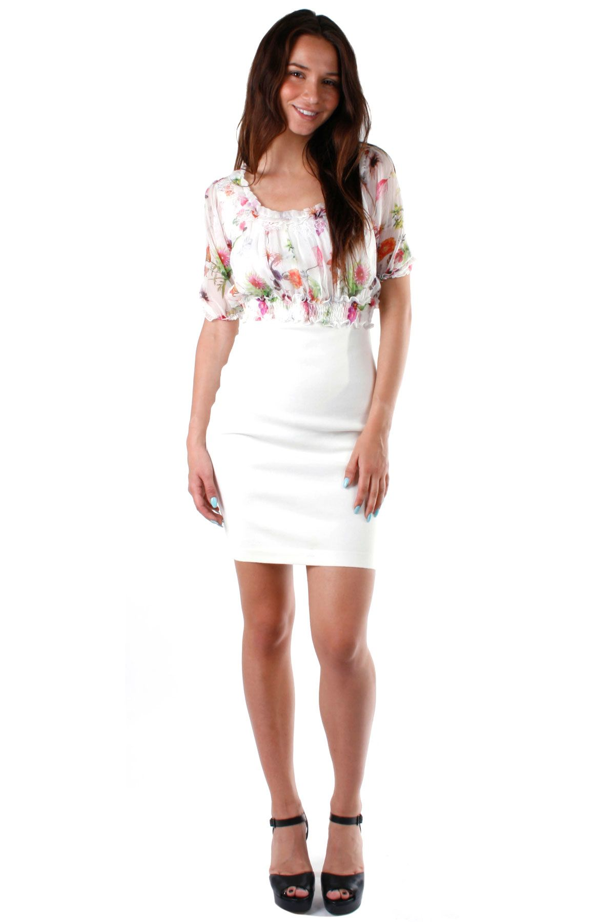 Blumarine White-cream Floral Shealt Dress