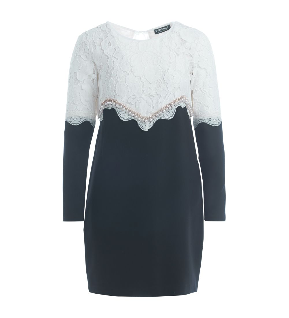 Twinset Lace Dress And Black And White Sweater
