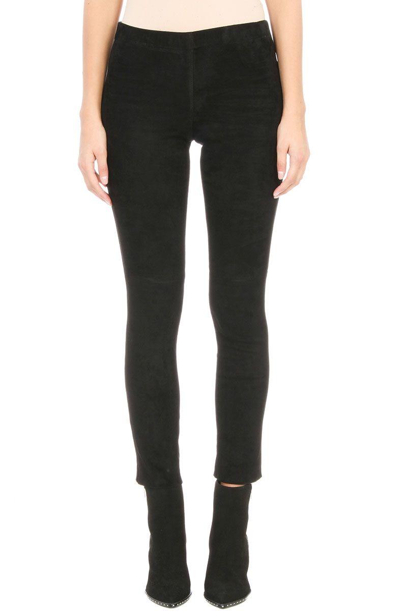 Laneus Black Suede Leather Leggings