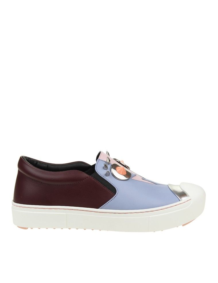 Fendi Slip On Leather Lilac And Bordeaux